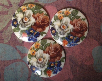 3 Vintage Mixed Bouquet Decal Cabochons  30mm