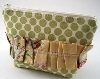 Zipper Pouch - Green Polka Dot with Yellow Floral