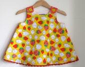 Baby Girls Dress, Toddler Girls Dress - Strawberry Fields Yellow & Red Girls Dress  - Sizes 12M, 2T - Girls Children's Clothing