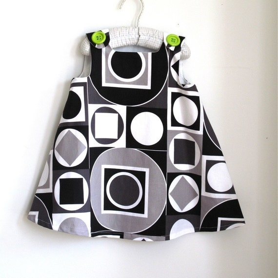Mod Geometric Math Rock Infant or Toddler Girls Dress - Hipster Children's Clothing - sizes newborn, 3m, 6m, 12m, 18m, 2t