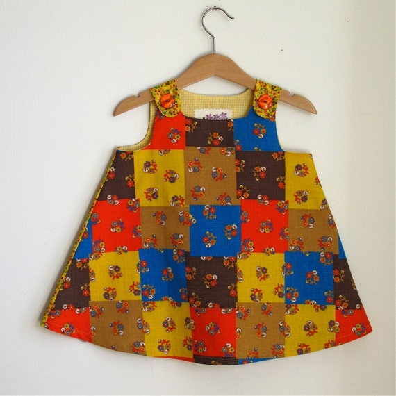Baby Girls Dress, Harvest Patchwork Dress - size 12 - 18 months - Bohemian Girl Childrens Clothing from vintage fabric