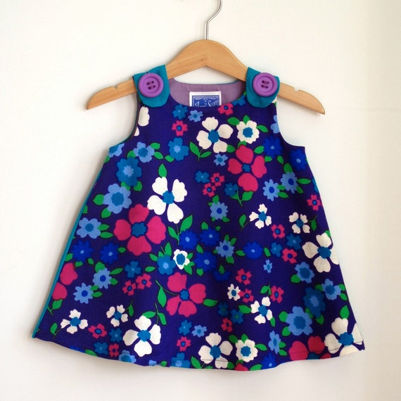 Purple posies baby dress - Baby Girls Children's Clothing from Vintage Fabric - Size 6 - 12 months