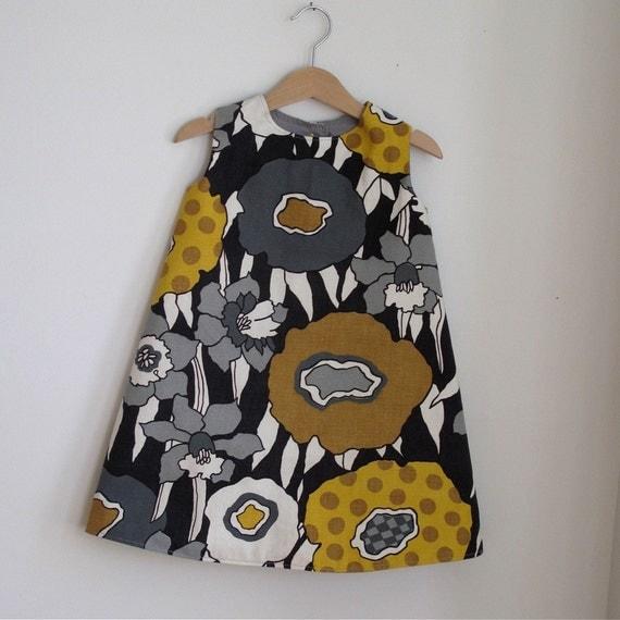 Toddler Dress - mod graphic toddler girls dress in Black, Grey and Mustard - size 4T girls autumn fashion