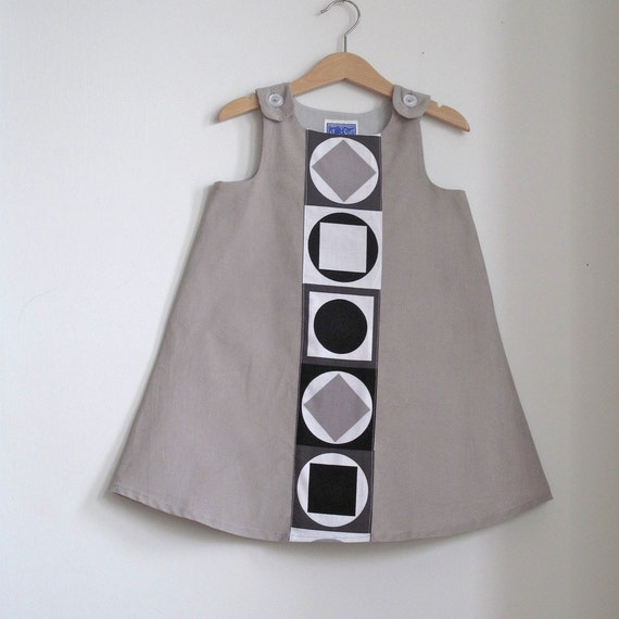 Minimalist Mod Toddler Girls Baby Dress - Size 4T - Hipster Children's Clothing - Gray, Black & White Girl's Dress - Space Age