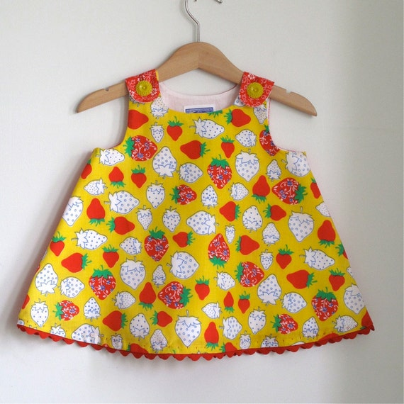 Strawberry Fields Yellow & Red Girls Summer Sundress | Toddler Dress | Baby Dress |  Girls Summer Clothes |  Picnic | Size 2T