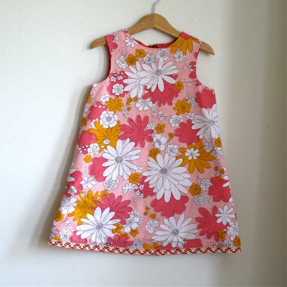 Toddler Girls Reversible Button Back Dress - Peach Vintage Flowers and Orange Dots - Size 4T children's clothing