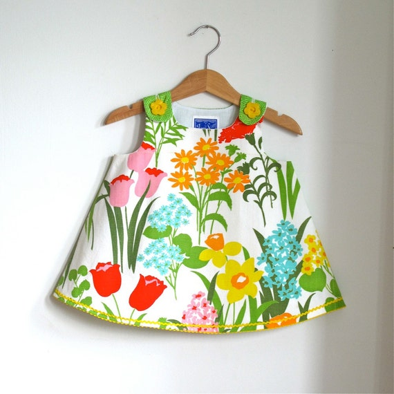 Blooming garden infant girl dress - size 6 - 12 months - ecofriendly children's spring fashion
