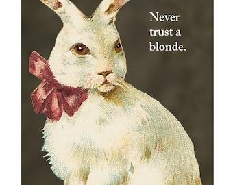 Never Trust a Blonde - Rabbit Magnet - Humor - Gift - Stocking Stuffer - Bunny