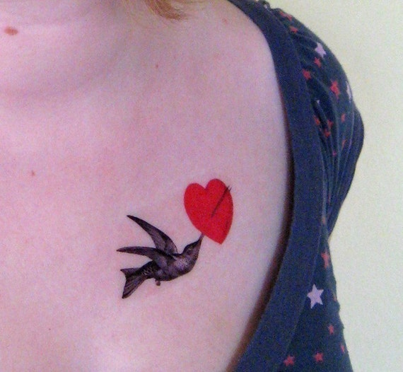 Hummingbird With Heart Temporary Tattoo