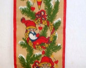 Vintage Christmas Elves Painted on Burlap Wall Hanging - Adorable