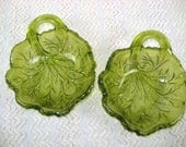 2 Avocado Green Glass Oak Leaf Shaped Bowls