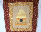 Vintage Quilted Patchwork Beehive Fabric Piece for Wall Hanging or Pillow