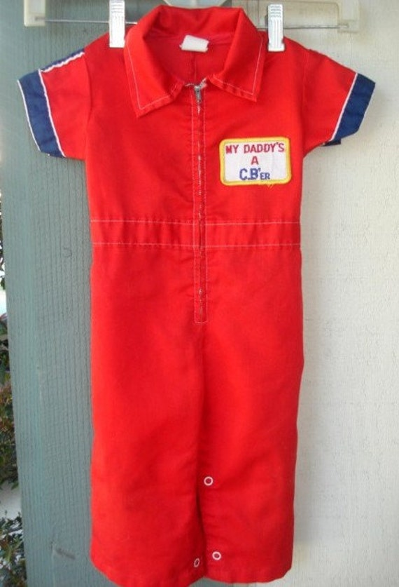 Vintage My Daddy's a C.B.'er  Toddler  Red  Trucker Jumpsuit Size Med - Montgomery Ward