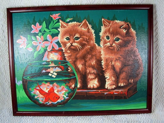 "Vintage Paint by Number 2 Kittens Watching a Fish in a Bowl Framed Wall Art - Adorable - 13"" x 17"""