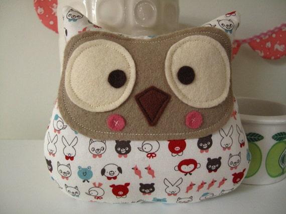 Handmade owl plush toy Hudson made from cute Japanese fabric