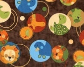 Amy Schimler Animal Party Animal Circles Earth Brown Fabric - By the Yard