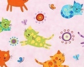 Amy Schimler Animal Party Cats Pink Fabric - REMNANT Size 33 Inches by 44 Inches
