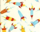 David Walker Robots, Painted Rockets on Ivory Fabric - Half Yard