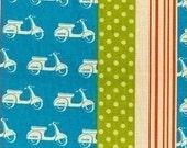 Echino Ni-co Scooter Blue OOP Fabric- HALF YARD