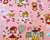 Cute Dolls in Paris on Pink Japanese Fabric - Half Yard