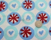 SALE Heart Circles Fabric - REMNANT Size 28 Inches by 44 Inches