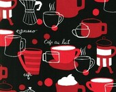 Monaluna, Metro Cafe, Coffee Press and Cups Black Fabric - REMNANT Size 28 Inches by 44 Inches