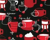 Monaluna, Metro Cafe, koffie pers en kopjes zwarte stof - restant maat 28 inch x 44 inch