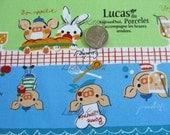 SALE Japanese Eau De Mer Lucas Pig Stripe Fabric - Half Yard