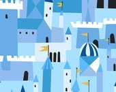 Lizzy House Castle Peeps, Castle Blue Fabric - Reserved for DB