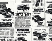 1972 Mustang Ads Black and White Fabric - By the Yard