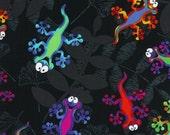 Geckos on Black Fabric - Half Yard