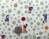 SALE/CLEARANCE Kids and Balloons, Green Dots on  Natural Japanese Fabric  - Half Yard