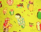 Alexander Henry Spotted Owl Fabric on Green Tea - By the Yard