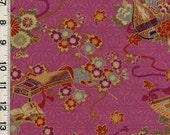 SALE/CLEARANCE Japanese Koto and Blossoms on Pink Fabric - Half Yard