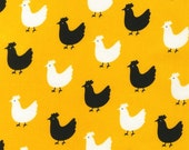 Pink Light Design, Menagerie, Chickens on Yellow Fabric - By the Yard