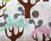 David Walker, Get Together, Squirrel and Trees Sorbet  Fabric - Half Yard