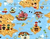 Push Pin Pirate Map Japanese Fabric - REMNANT Size 27 Inches by 43 Inches