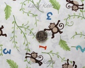SALE Deb Strain, Kate Strain, Arrin Turnmire, Grow With Me, Monkeys Creamy White Fabric - By the Yard