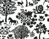 Robert Kaufman, Hot Couturier Animal Forest Black OOP Fabric - HALF YARD (Last One)