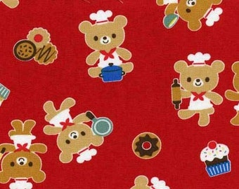 Kawaii Cooking Bears on Red Japanese Fabric - REMNANT Size 21 Inches by 44 Inches
