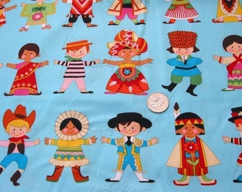 Alexander Henry Good Earth You and Me Children OOP Fabric in Turquoise - Half Yard