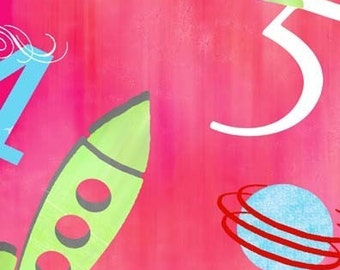 SALE/CLEARANCE Keri Beyer Rocket Scientist, Large Rockets on Coral Cotton Fabric - By the Yard