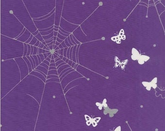 Echino Butterfly Web Cobweb Purple OOP Fabric - REMNANT Size 27 Inches by 42 Inches