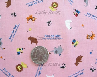 SALE Eau De Mer Kawaii Japanese Tiny Zoo Animals on Pink Fabric - Half Yard