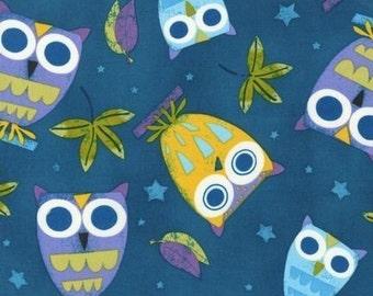 On a Whim Owls on Summer Blue OOP Fabric - Half Yard