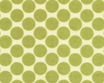 Amy Butler Full Moon Polka Dot Lime Fabric - REMNANT Size 32 Inches by 44 Inches