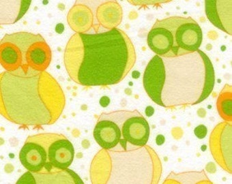 Valori Wells Della Flannel Little Owls Fabric in Sun - REMNANT Size 34 Inches by 43 Inches