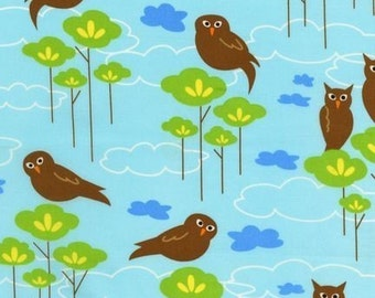 Hot Couturier Owls on Sky Blue OOP Fabric - Half Yard