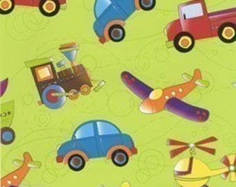 Jill Webster, On The Go Vehicles on Light Olive OOP Fabric - Half Yard