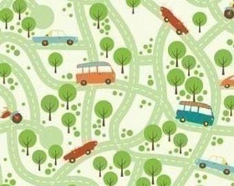 Riley Blake Designs, Wheels, Road Map on White Fabric - Half Yard